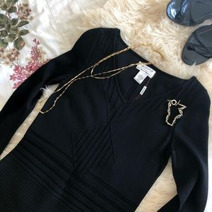 M.S.S.P. Long Sleeve Fitted Black Dress S